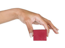 Female hand holding a small box Stock Photography