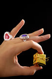 Female hand holding small present Royalty Free Stock Photos