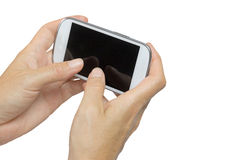 Female hand is holding smart phone horizontal Royalty Free Stock Images