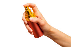 Female hand holding spray bottle Stock Photography