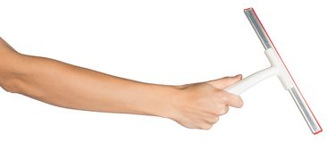 Female hand holding squeegee Stock Photos