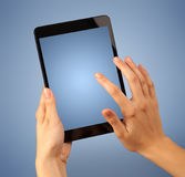Female hand holding tablet Royalty Free Stock Photo