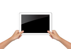 Female hand holding tablet pc isolated on white Royalty Free Stock Photo