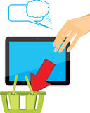 Female hand holding tablet pc. Shop online stock photo