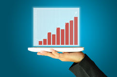Female hand holding tablet present achieve graph. Female hand holding a tablet touch computer gadget present growth graph or chart Stock Photo