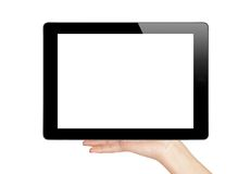 Female hand holding a tablet touch computer Royalty Free Stock Photo