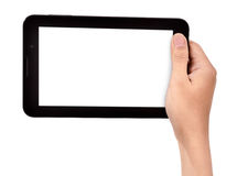Female hand holding a tablet touch Stock Images