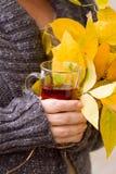 Female hand holding tea and autumn leaves Stock Photos