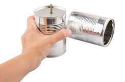 Female Hand Holding Tin Can Telephone III Stock Photo