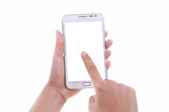 Female hand holding and touching blank screen smart phone Stock Image