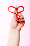 Female hand holding valentine red heart love. Valentines day. Royalty Free Stock Photo