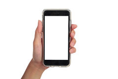 Female hand holding vertical smart phone, use clipping path Stock Images