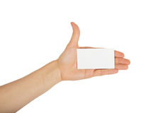 Female hand holding a white business card Stock Image