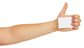 Female hand holding a white business card Stock Photography