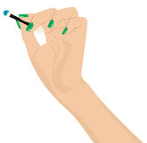 Female hand holds applicator Royalty Free Stock Image
