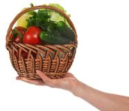 Female hand holds basket with vegetables Stock Photography