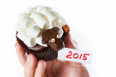 Female hand holds cake lamb as simbol 2015 new years isolated Stock Image