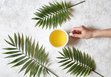 A female hand holds a cup of green natural tea on a white concrete background. Rest in warm tropical countries concept Stock Images