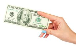 Female hand holds dollar on a isolated white background. Stock Images