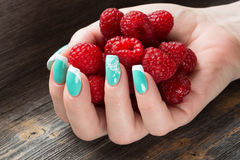 The female hand holds a handful of ripe berries  raspberry against the background   wooden table. The female hand with beautiful manicure holds a handful of ripe Stock Image