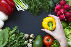 Female hand holds pepper. Composition with different fresh organic fruits and vegetables. Copy space. Top view. Flat lay royalty free stock photography