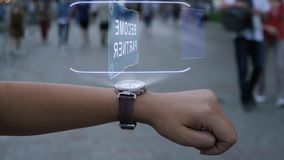 Female hand with hologram Become partner