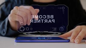 Female hand interacts hologram Become partner
