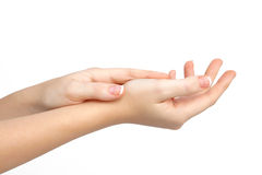 Female hand on the isolated royalty free stock image