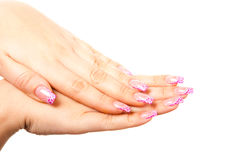 Female hand on the isolated background. Female hand photographed on a white background isolated Royalty Free Stock Images