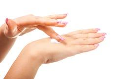 Female hand on the isolated background. Female hand photographed on a white background isolated Stock Photo
