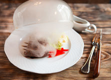 Female hand lifts to up cloche  from a plate with hot food at re Stock Photo