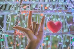 Female hand with a little red heart shape pillow on decorate colorful light bulbs. In garden stock images