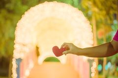 Female hand with a little red heart shape pillow on decorate colorful light bulbs in garden. Female hand with a little red heart shape pillow on decorate stock images