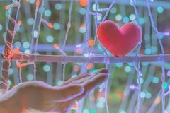 Female hand with a little red heart shape pillow on decorate colorful light bulbs. In garden stock image