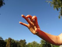 Female hand makes frightening or grabbing movement, palm forward. One female hand with five splayed fingers, close-up,. Against a blue sky stock photography