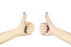 Female hand making ok sign with thumb up. Isolated over white Stock Photos