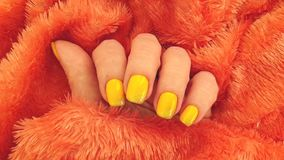 Female hand manicure fur slow motion fingernail. Female hand manicure fur , slow motion fingernail stock footage