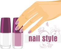 Female hand with manicure and nail polish. Banner  Stock Images