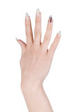 Female hand with manicure over white Royalty Free Stock Photo