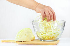 Female hand mixes shredded cabbage in a glass bowl Royalty Free Stock Image