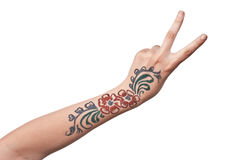 Female hand with nacre floral pattern Royalty Free Stock Photos