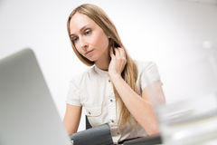 Female hand on neck front Stock Photography