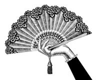 Female hand with open fan Royalty Free Stock Photos