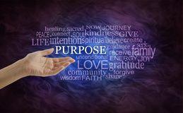 Let`s look at Life`s Purpose Word Cloud. Female hand open palm upwards with the word Purpose surrounded by a relevant word cloud on a deep purple and blue stock photo