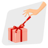 Female hand opening gift. Stock Photos
