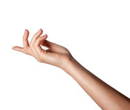 A female hand outstretched beckoning. Isolated on a white background Stock Photos