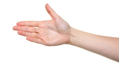 Female hand outstretched for a handshake. Isolated on white Stock Photo