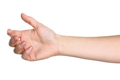 Female hand outstretched for a handshake. Isolated on white Royalty Free Stock Image