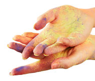 Female hand in paint Stock Photo