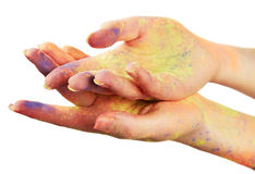 Female hand in paint Stock Photography